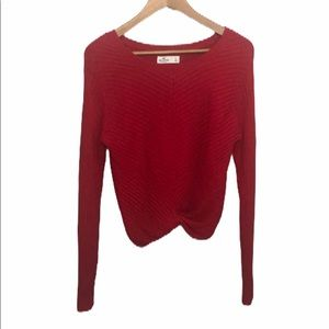 Hollister Wide Neck Twist Front Red Sweater